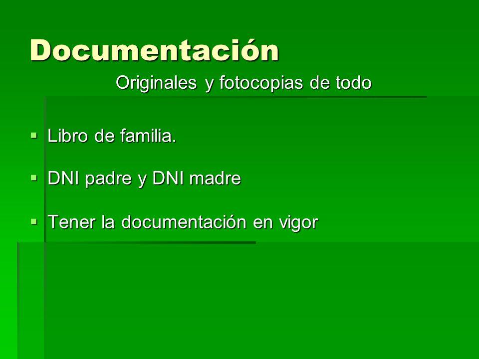 Documentación Libro de familia. Libro de familia.