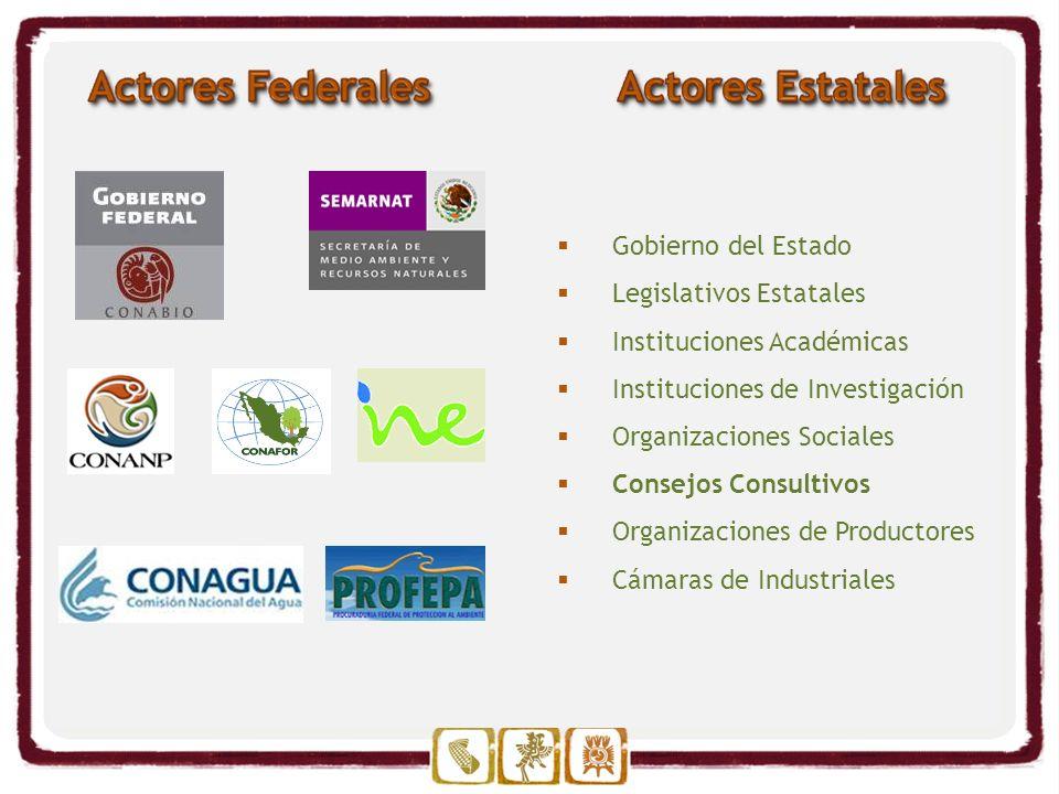 Gobierno del Estado Legislativos Estatales Instituciones Académicas Instituciones de Investigación Organizaciones Sociales Consejos Consultivos Organizaciones de Productores Cámaras de Industriales