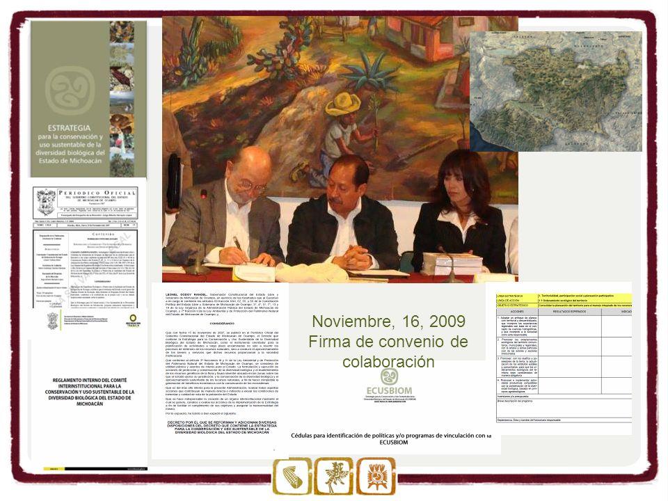 Noviembre, 16, 2009 Firma de convenio de colaboración