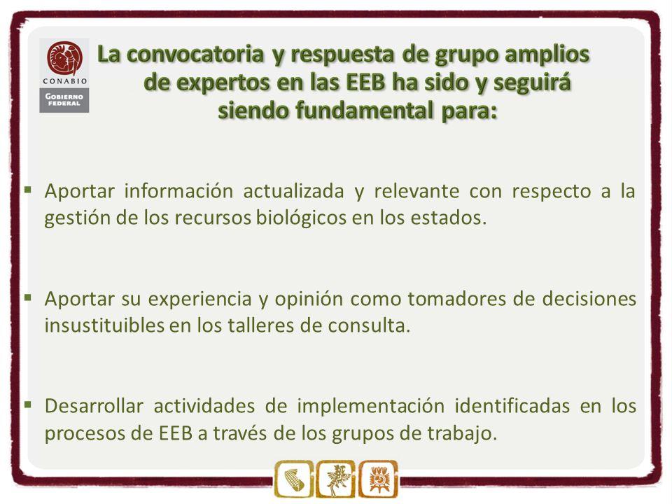 Aportar información actualizada y relevante con respecto a la gestión de los recursos biológicos en los estados.