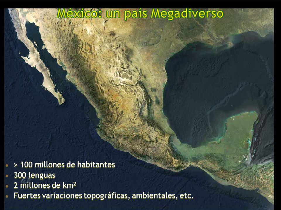 > 100 millones de habitantes > 100 millones de habitantes 300 lenguas 300 lenguas 2 millones de km 2 2 millones de km 2 Fuertes variaciones topográficas, ambientales, etc.
