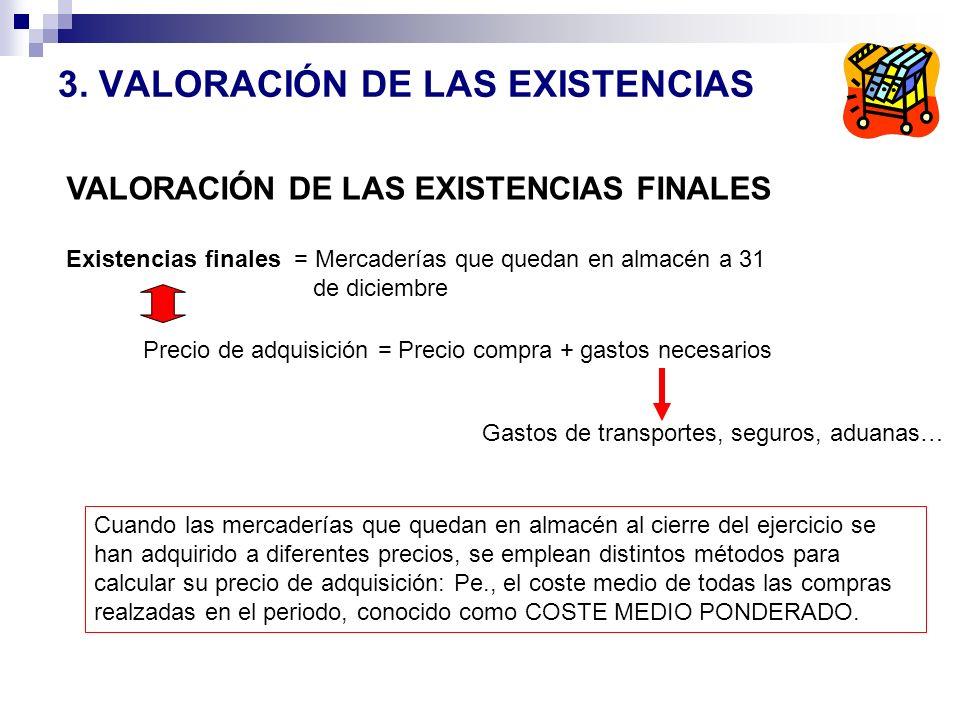 3. VALORACIÓN DE LAS EXISTENCIAS Existencias finales = Mercaderías que quedan en almacén a 31 de diciembre Precio de adquisición = Precio compra + gas