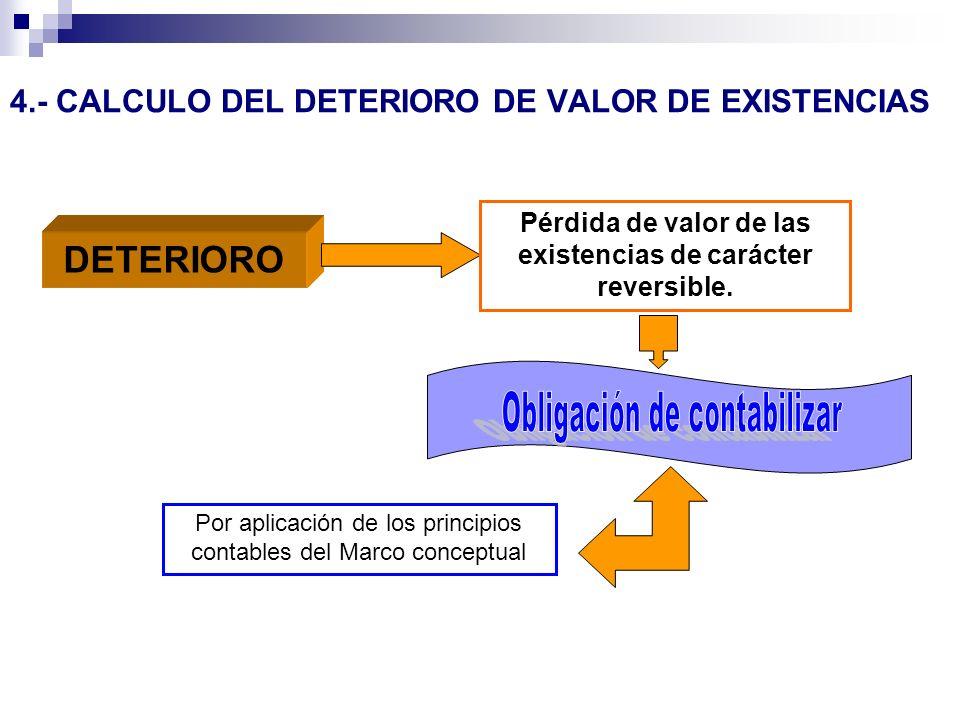 4.- CALCULO DEL DETERIORO DE VALOR DE EXISTENCIAS DETERIORO Pérdida de valor de las existencias de carácter reversible. Por aplicación de los principi