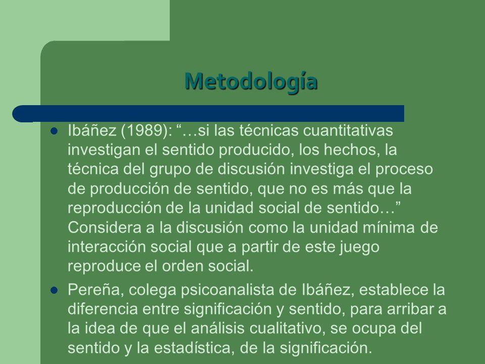 Metodología Ibáñez (1989): …si las técnicas cuantitativas investigan el sentido producido, los hechos, la técnica del grupo de discusión investiga el