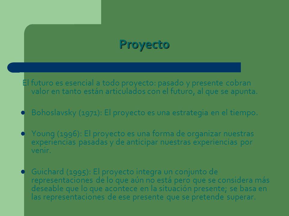 Proyecto El futuro es esencial a todo proyecto: pasado y presente cobran valor en tanto están articulados con el futuro, al que se apunta. Bohoslavsky