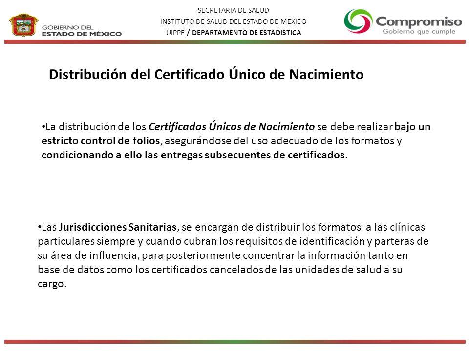 La distribución de los Certificados Únicos de Nacimiento se debe realizar bajo un estricto control de folios, asegurándose del uso adecuado de los formatos y condicionando a ello las entregas subsecuentes de certificados.