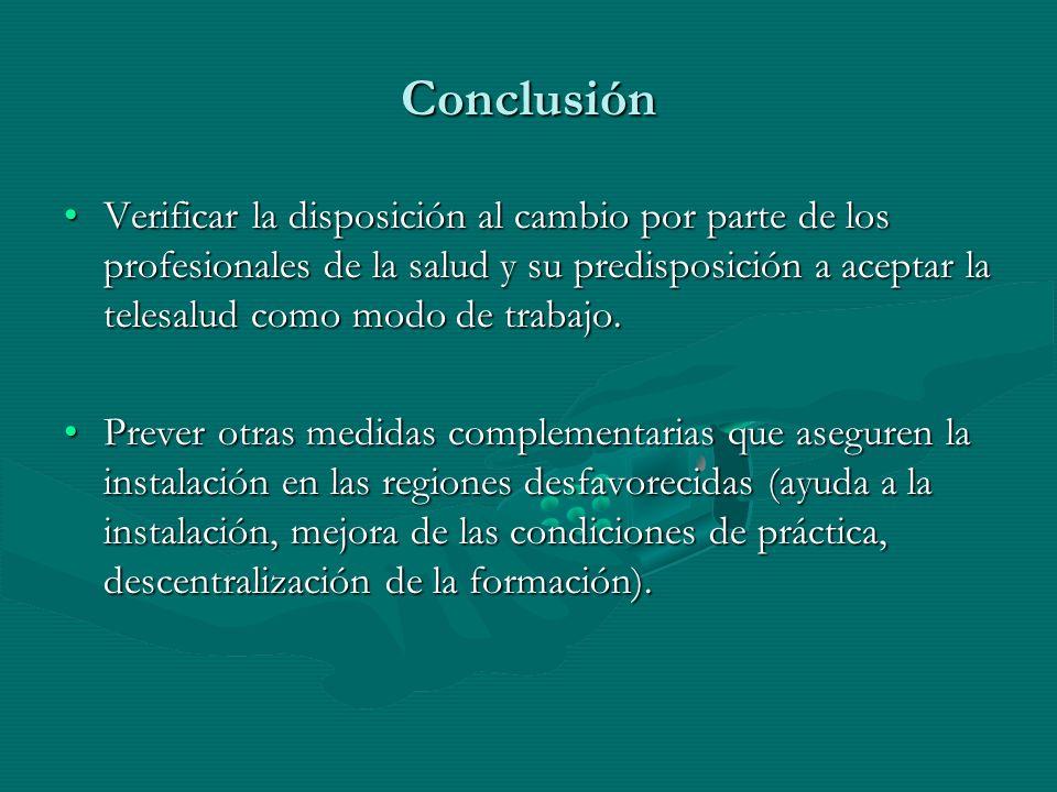 Conclusión Verificar la disposición al cambio por parte de los profesionales de la salud y su predisposición a aceptar la telesalud como modo de trabajo.Verificar la disposición al cambio por parte de los profesionales de la salud y su predisposición a aceptar la telesalud como modo de trabajo.