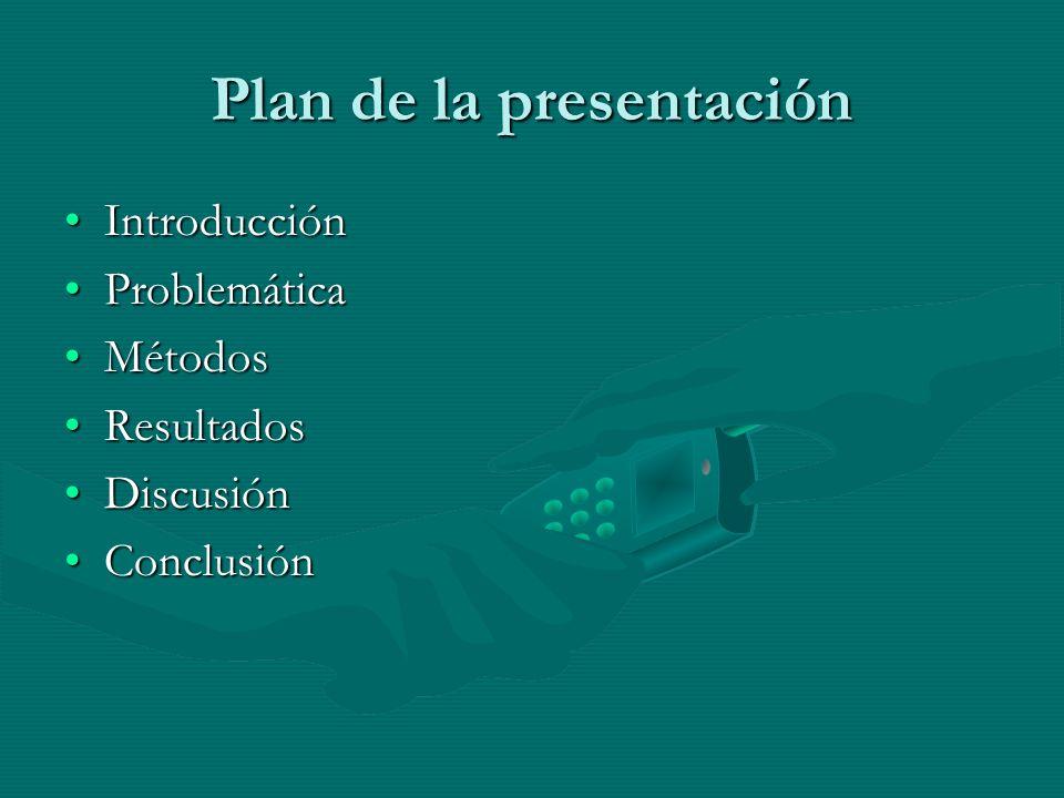 Plan de la presentación IntroducciónIntroducción ProblemáticaProblemática MétodosMétodos ResultadosResultados DiscusiónDiscusión ConclusiónConclusión