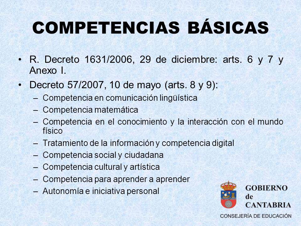 COMPETENCIAS BÁSICAS R. Decreto 1631/2006, 29 de diciembre: arts. 6 y 7 y Anexo I. Decreto 57/2007, 10 de mayo (arts. 8 y 9): –Competencia en comunica