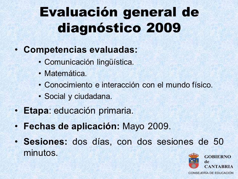 Evaluación general de diagnóstico 2009 Competencias evaluadas: Comunicación lingüística. Matemática. Conocimiento e interacción con el mundo físico. S