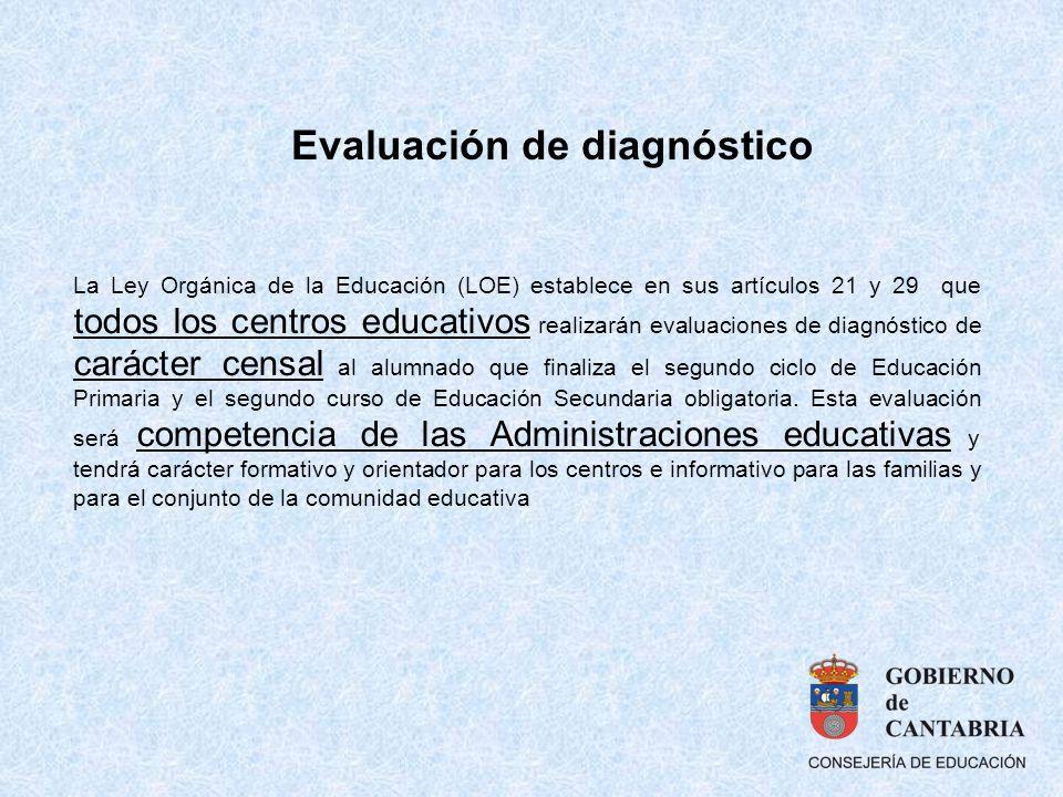 La Ley Orgánica de la Educación (LOE) establece en sus artículos 21 y 29 que todos los centros educativos realizarán evaluaciones de diagnóstico de ca