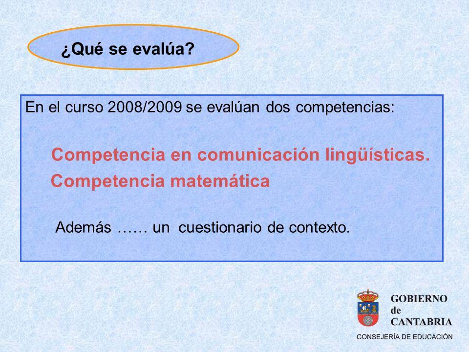 En el curso 2008/2009 se evalúan dos competencias: Competencia en comunicación lingüísticas. Competencia matemática Además …… un cuestionario de conte