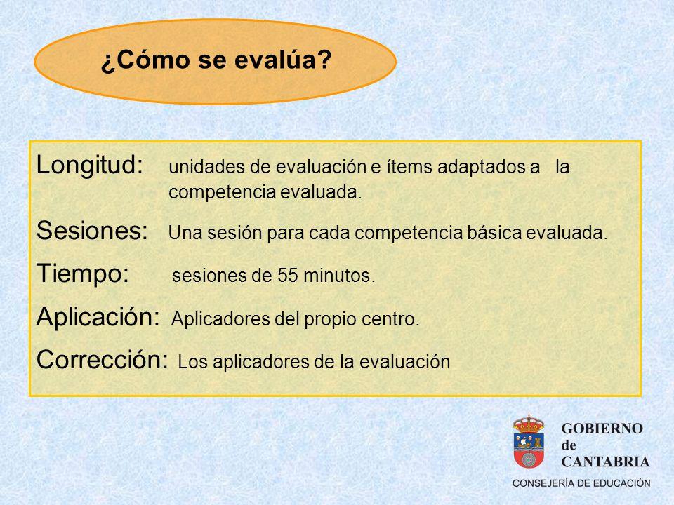 Longitud: unidades de evaluación e ítems adaptados a la competencia evaluada. Sesiones: Una sesión para cada competencia básica evaluada. Tiempo: sesi
