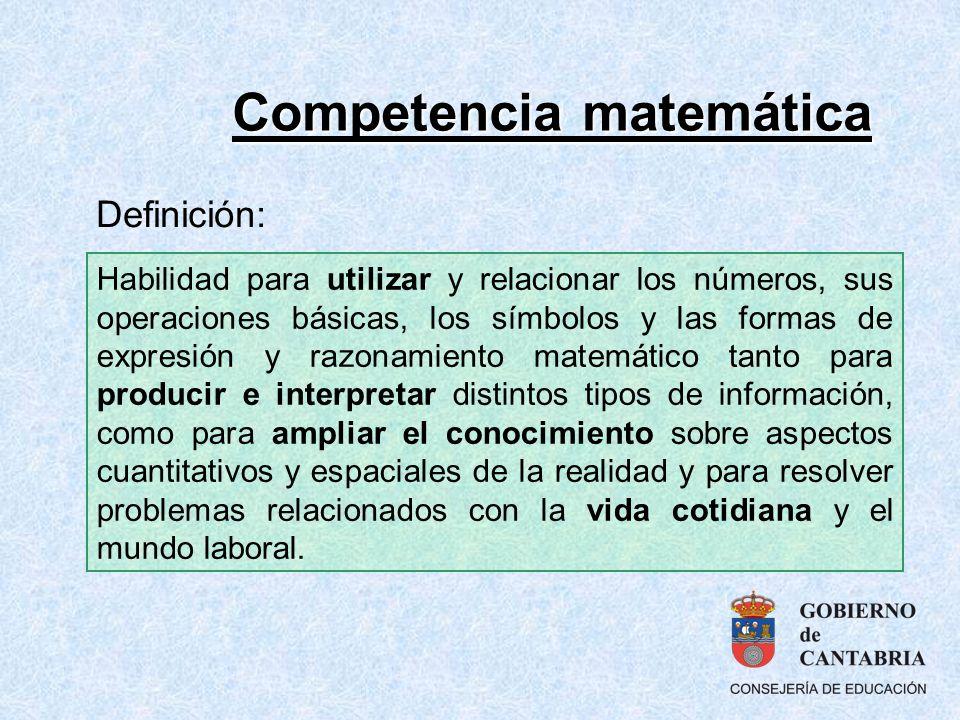 Competencia matemática Habilidad para utilizar y relacionar los números, sus operaciones básicas, los símbolos y las formas de expresión y razonamient