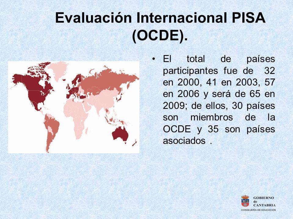 Evaluación Internacional PISA (OCDE). El total de países participantes fue de 32 en 2000, 41 en 2003, 57 en 2006 y será de 65 en 2009; de ellos, 30 pa