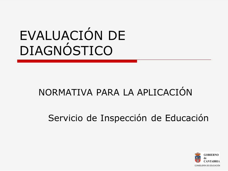 EVALUACIÓN DE DIAGNÓSTICO NORMATIVA PARA LA APLICACIÓN Servicio de Inspección de Educación