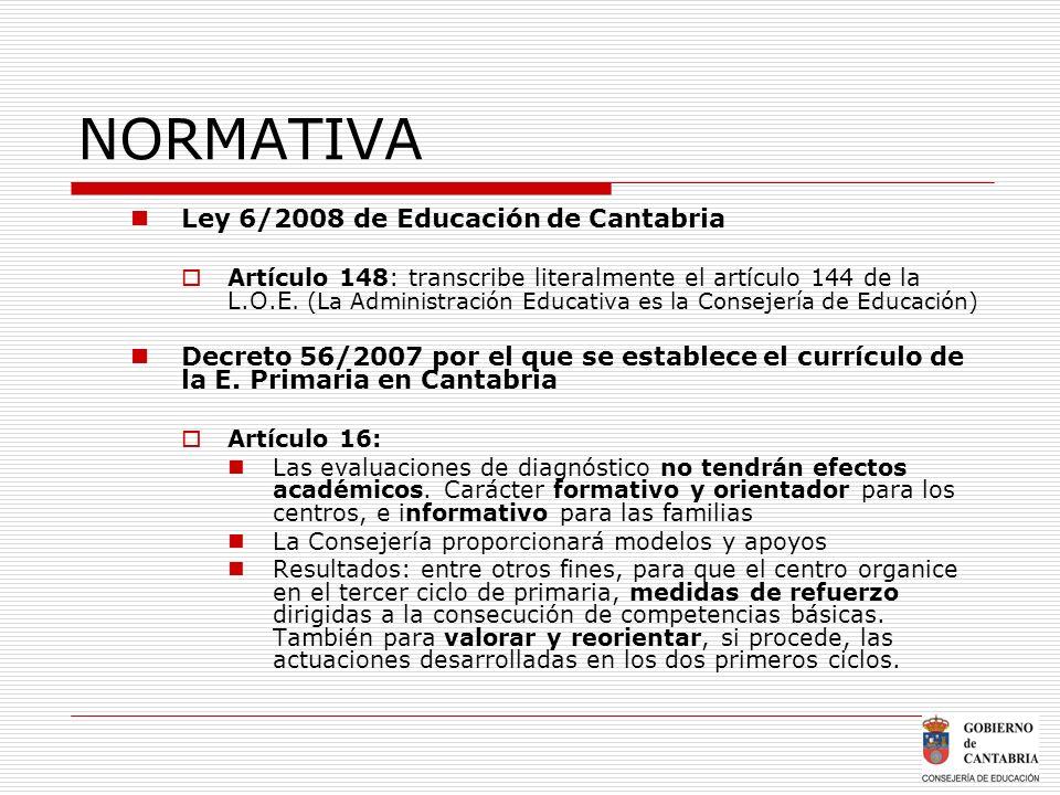 NORMATIVA Ley 6/2008 de Educación de Cantabria Artículo 148: transcribe literalmente el artículo 144 de la L.O.E. (La Administración Educativa es la C