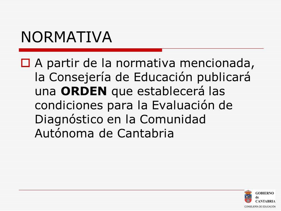 NORMATIVA A partir de la normativa mencionada, la Consejería de Educación publicará una ORDEN que establecerá las condiciones para la Evaluación de Di