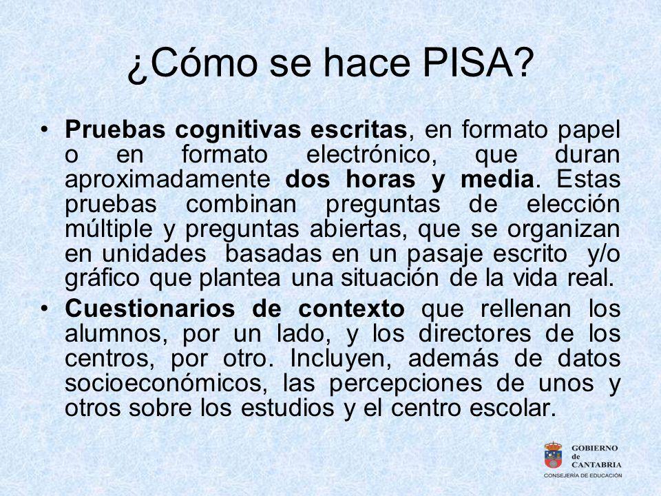 ¿Cómo se hace PISA? Pruebas cognitivas escritas, en formato papel o en formato electrónico, que duran aproximadamente dos horas y media. Estas pruebas