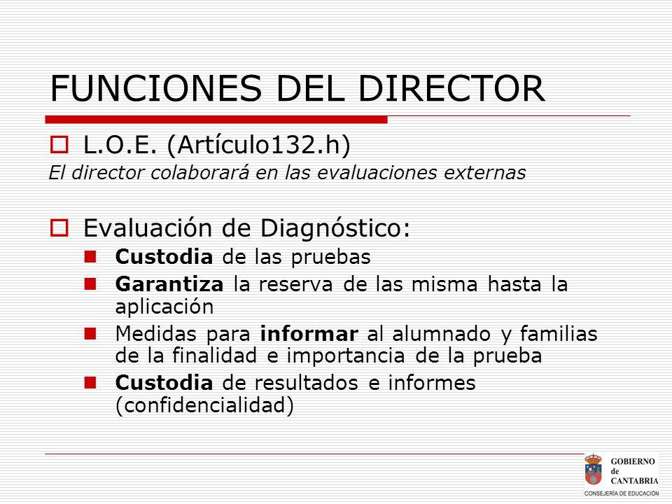 FUNCIONES DEL DIRECTOR L.O.E. (Artículo132.h) El director colaborará en las evaluaciones externas Evaluación de Diagnóstico: Custodia de las pruebas G