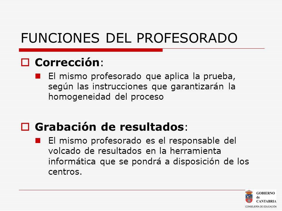 FUNCIONES DEL PROFESORADO Corrección : El mismo profesorado que aplica la prueba, según las instrucciones que garantizarán la homogeneidad del proceso