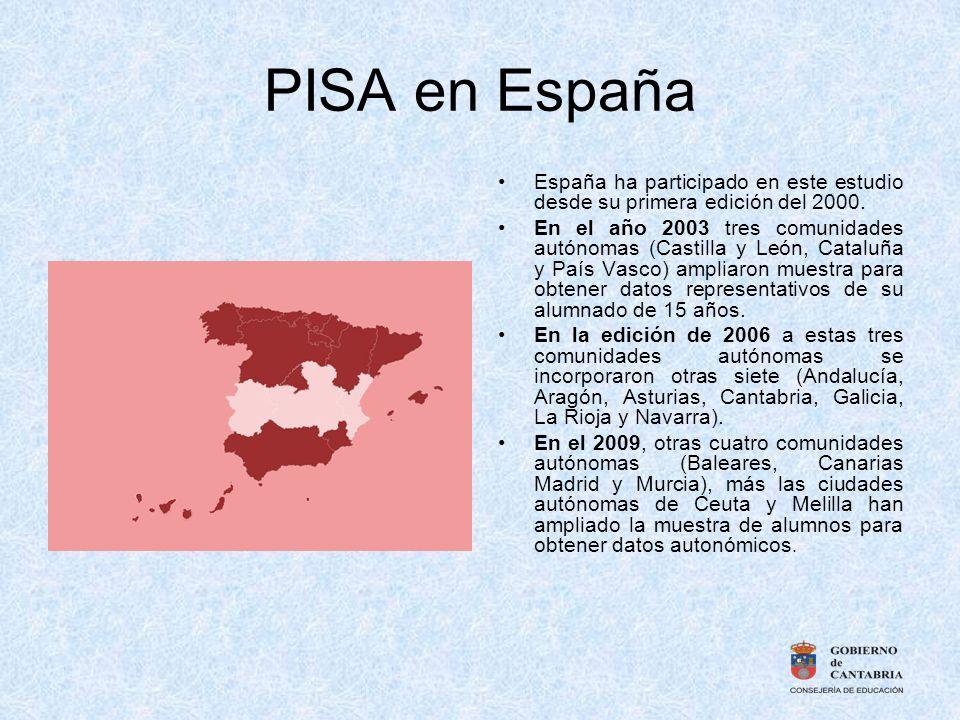 PISA en España España ha participado en este estudio desde su primera edición del 2000. En el año 2003 tres comunidades autónomas (Castilla y León, Ca