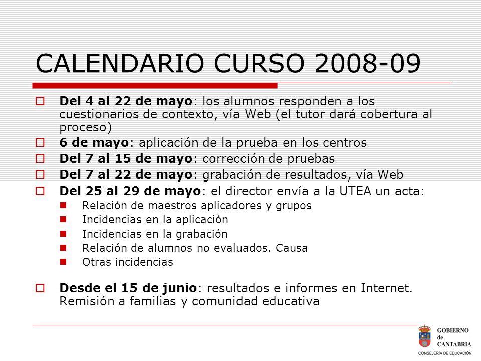 CALENDARIO CURSO 2008-09 Del 4 al 22 de mayo: los alumnos responden a los cuestionarios de contexto, vía Web (el tutor dará cobertura al proceso) 6 de