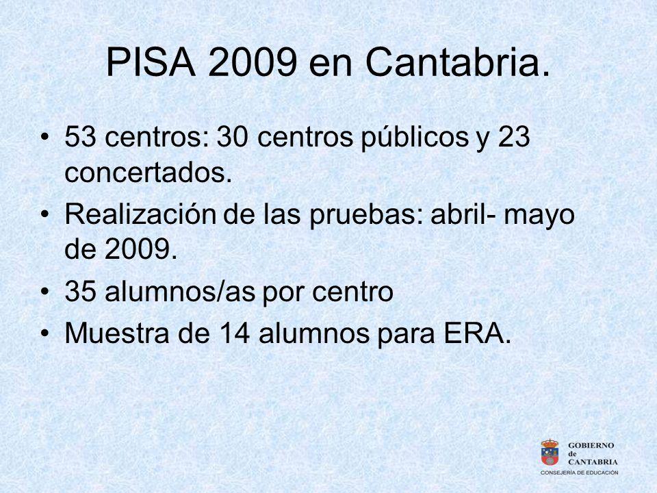 PISA 2009 en Cantabria. 53 centros: 30 centros públicos y 23 concertados. Realización de las pruebas: abril- mayo de 2009. 35 alumnos/as por centro Mu