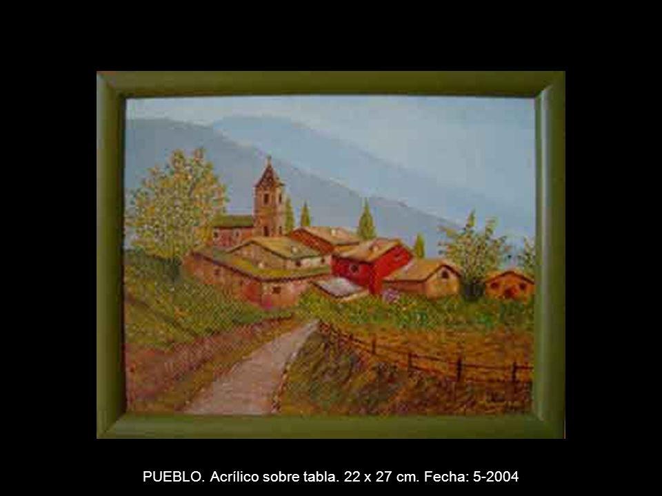 MUJER EN LA ROCA. Acrílico sobre tabla. 22 X 27 cm. Fecha: 3-2004