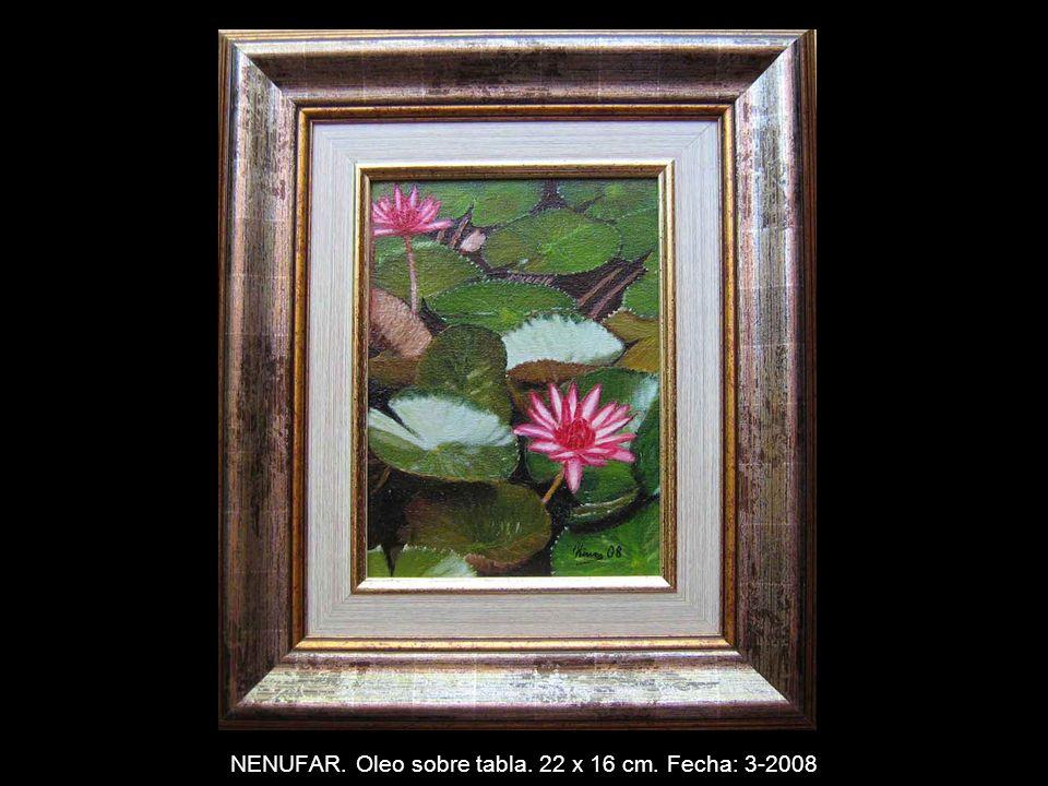 FLORES DEL TEMPLO. Oleo sobre tabla. 22 x 16 cm. Fecha: 1-2008