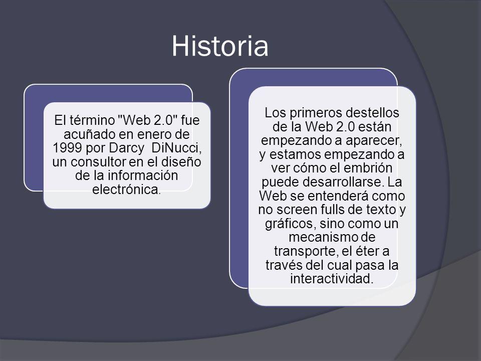Los principios de la Web 2.0 Siguiendo el artículo de OReilly, podemos decir que los siete principios que caracterizan la Web 2.0 son: La Web como pla