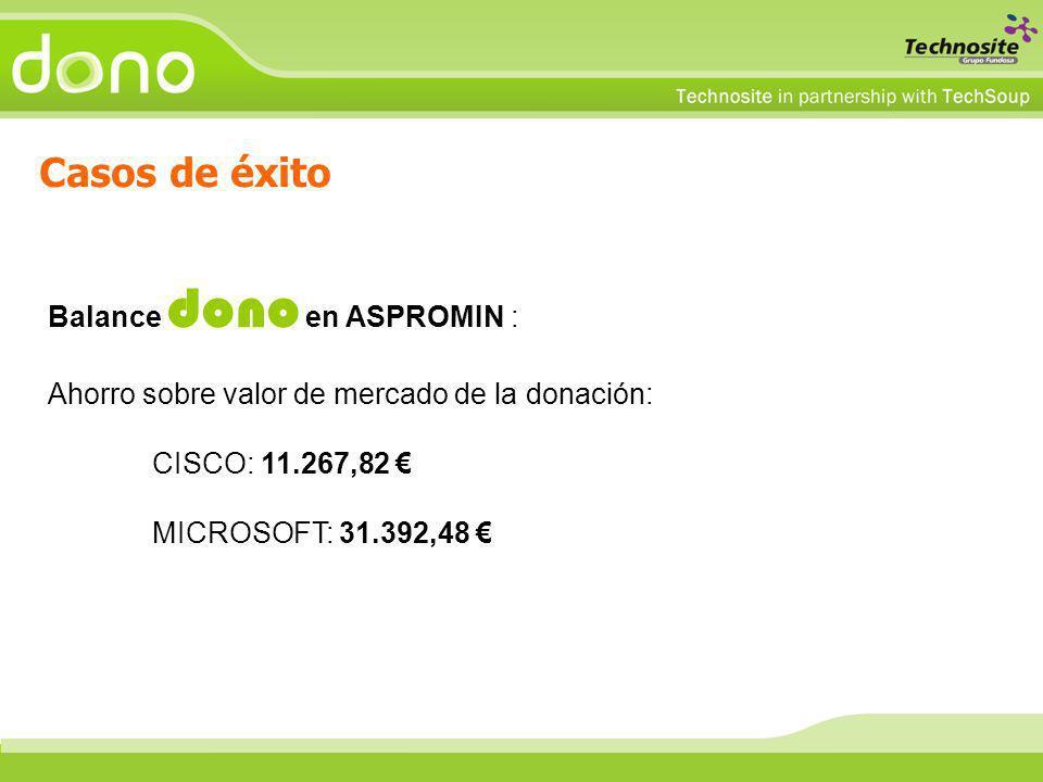 Casos de éxito Balance dono en ASPROMIN : Ahorro sobre valor de mercado de la donación: CISCO: 11.267,82 MICROSOFT: 31.392,48