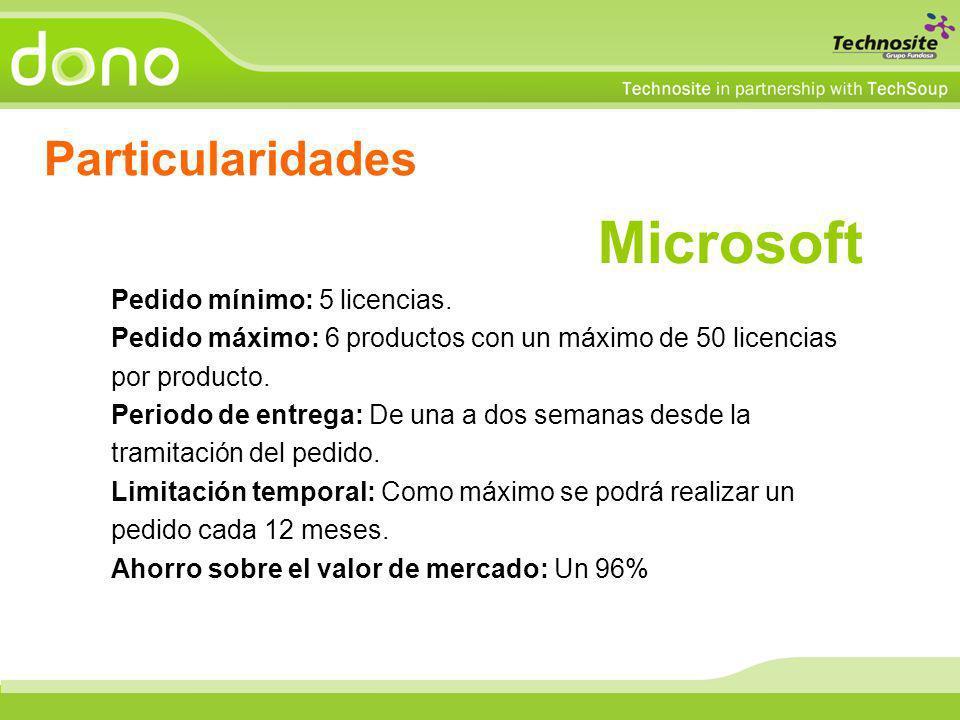 Microsoft Pedido mínimo: 5 licencias. Pedido máximo: 6 productos con un máximo de 50 licencias por producto. Periodo de entrega: De una a dos semanas