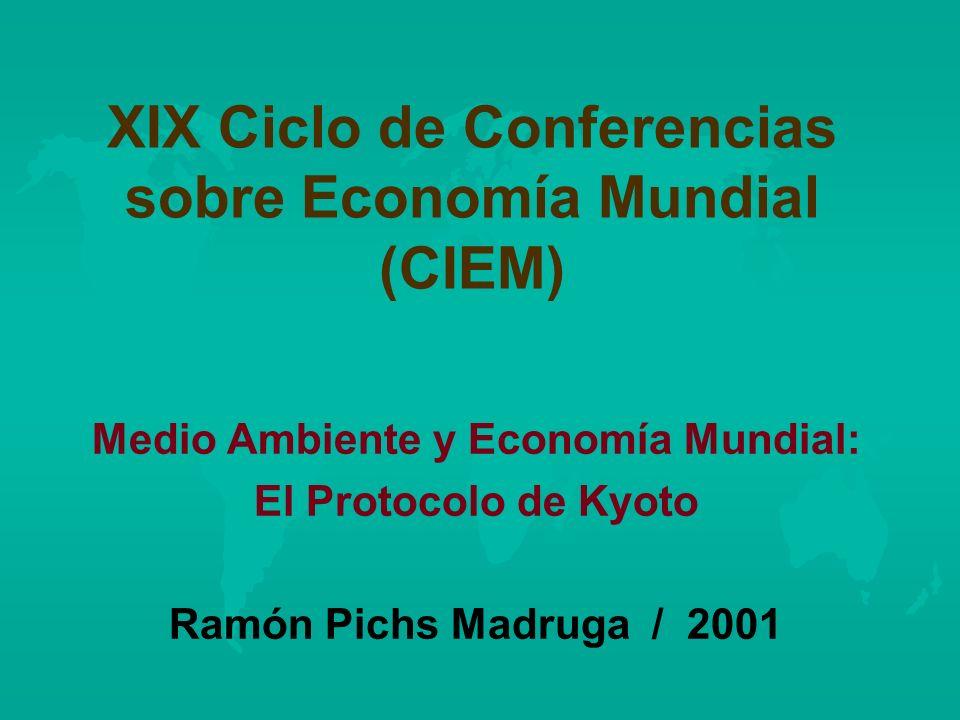 XIX Ciclo de Conferencias sobre Economía Mundial (CIEM) Medio Ambiente y Economía Mundial: El Protocolo de Kyoto Ramón Pichs Madruga / 2001