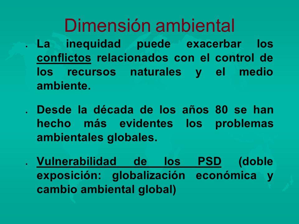 Dimensión ambiental l l La inequidad puede exacerbar los conflictos relacionados con el control de los recursos naturales y el medio ambiente. l l Des