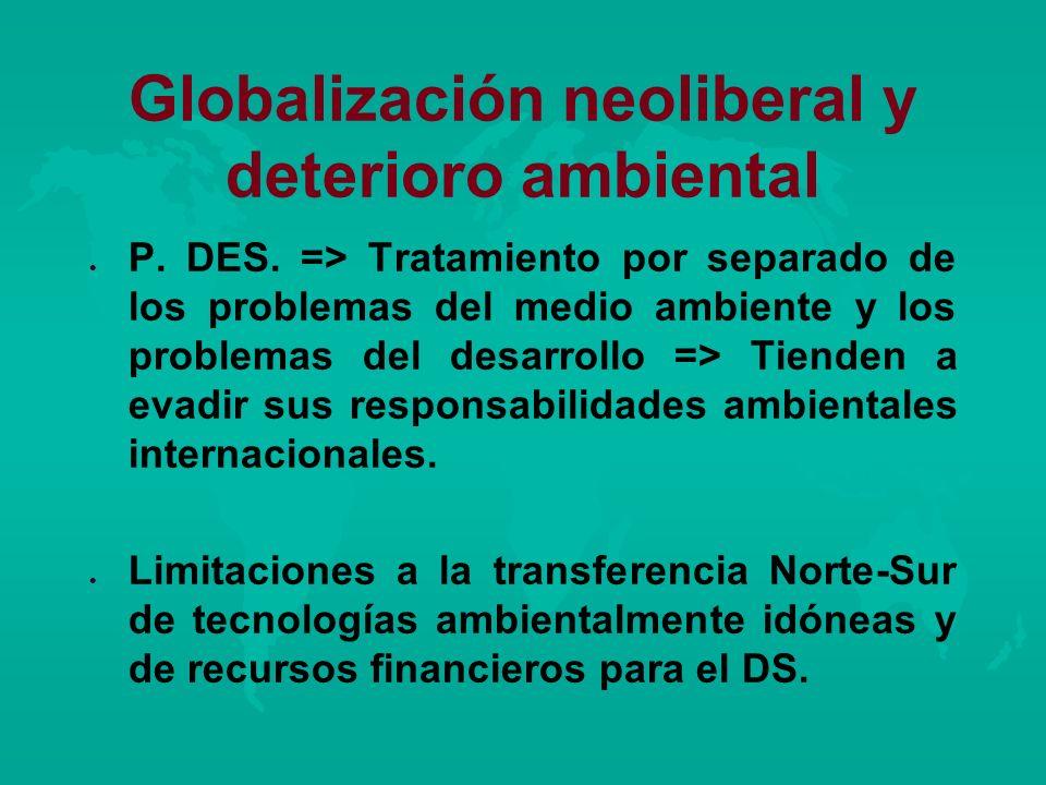 Globalización neoliberal y deterioro ambiental l l P. DES. => Tratamiento por separado de los problemas del medio ambiente y los problemas del desarro
