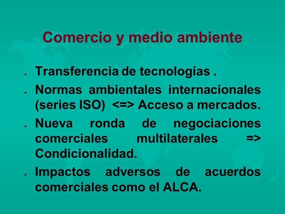 Comercio y medio ambiente l l Transferencia de tecnologías. l l Normas ambientales internacionales (series ISO) Acceso a mercados. l l Nueva ronda de