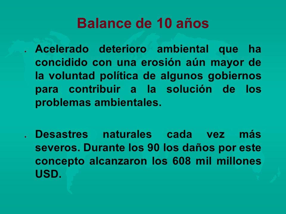 Balance de 10 años l l Acelerado deterioro ambiental que ha concidido con una erosión aún mayor de la voluntad política de algunos gobiernos para cont
