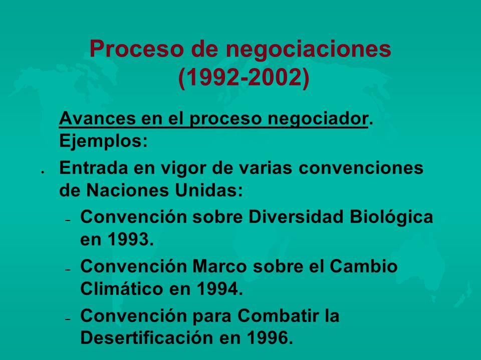 Proceso de negociaciones (1992-2002) Avances en el proceso negociador. Ejemplos: l l Entrada en vigor de varias convenciones de Naciones Unidas: – – C