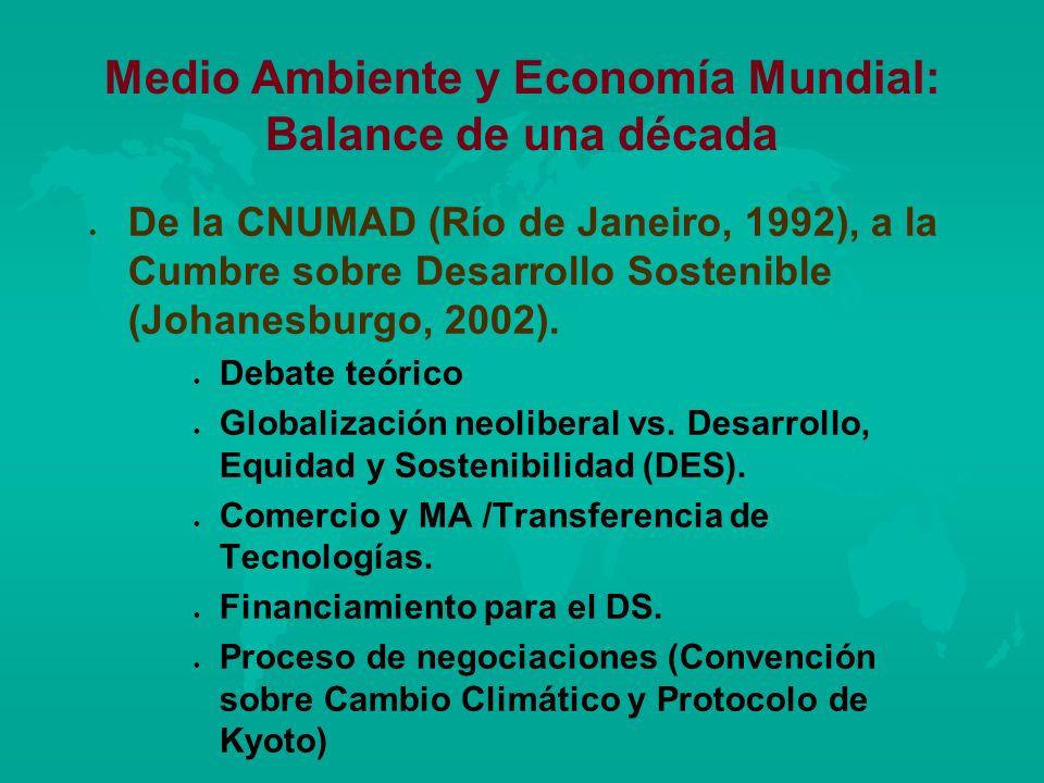 Medio Ambiente y Economía Mundial: Balance de una década l l De la CNUMAD (Río de Janeiro, 1992), a la Cumbre sobre Desarrollo Sostenible (Johanesburg