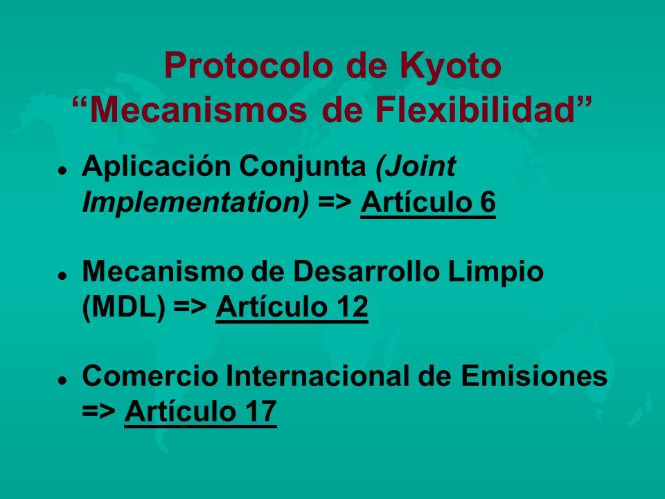 Protocolo de Kyoto Mecanismos de Flexibilidad l l Aplicación Conjunta (Joint Implementation) => Artículo 6 l l Mecanismo de Desarrollo Limpio (MDL) =>