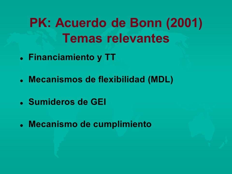 PK: Acuerdo de Bonn (2001) Temas relevantes l l Financiamiento y TT l l Mecanismos de flexibilidad (MDL) l l Sumideros de GEI l l Mecanismo de cumplim
