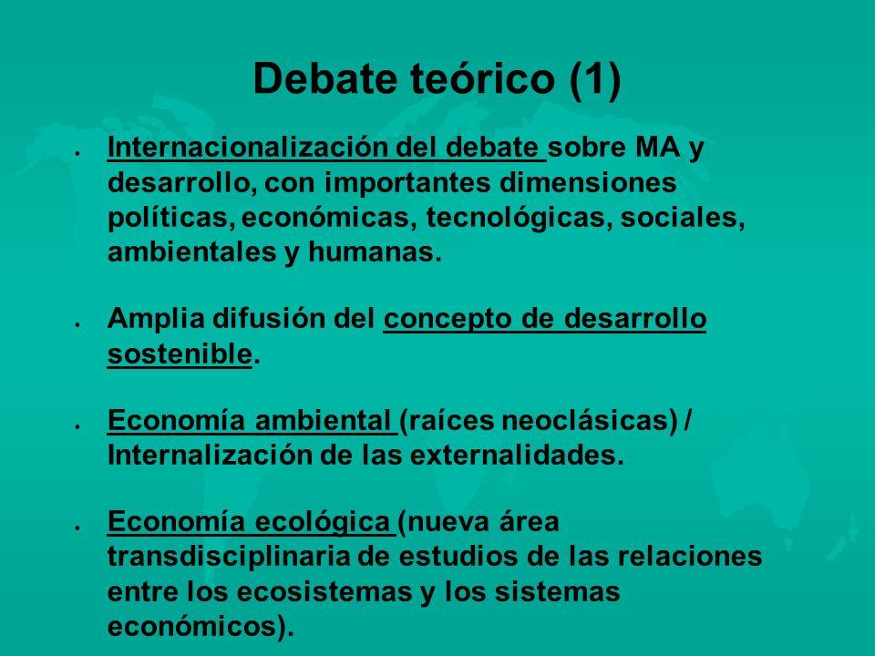 Debate teórico (1) l l Internacionalización del debate sobre MA y desarrollo, con importantes dimensiones políticas, económicas, tecnológicas, sociale