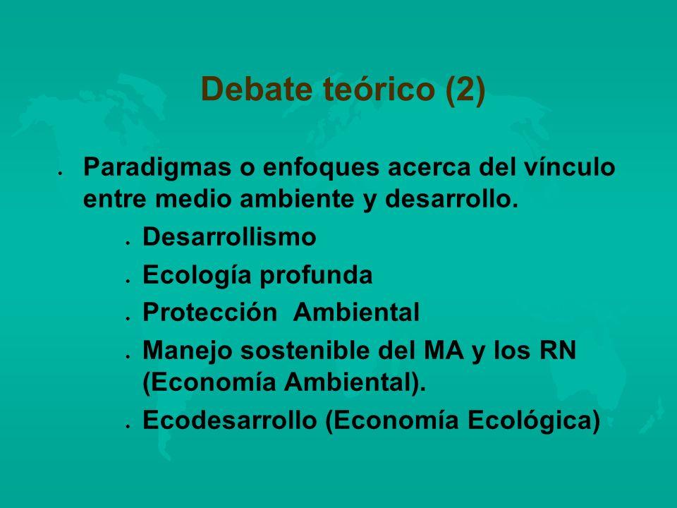Debate teórico (2) l l Paradigmas o enfoques acerca del vínculo entre medio ambiente y desarrollo. l l Desarrollismo l l Ecología profunda l l Protecc