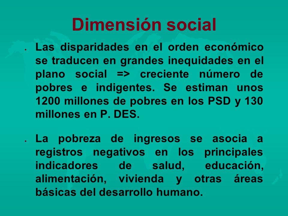 Dimensión social l l Las disparidades en el orden económico se traducen en grandes inequidades en el plano social => creciente número de pobres e indi