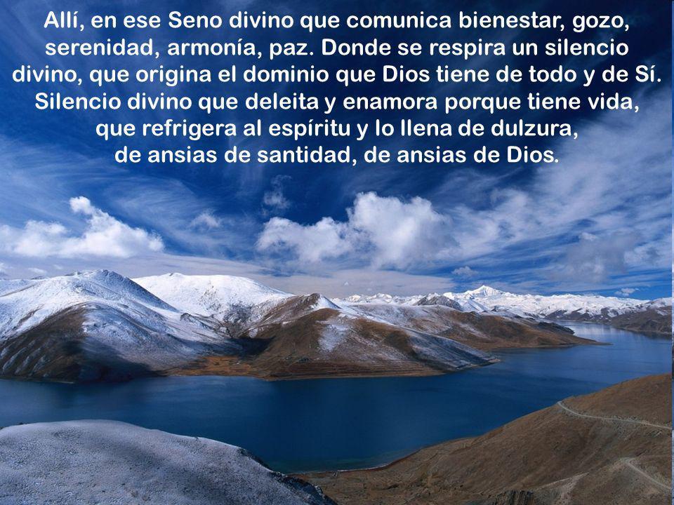 Allí, en ese Seno divino que comunica bienestar, gozo, serenidad, armonía, paz.