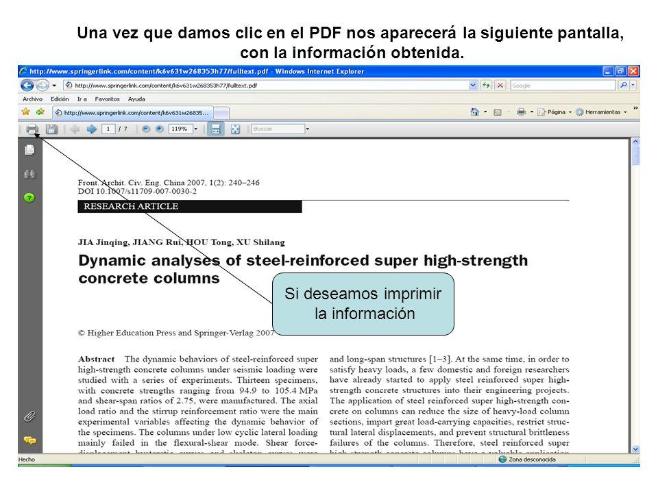 Una vez que damos clic en el PDF nos aparecerá la siguiente pantalla, con la información obtenida. Si deseamos imprimir la información
