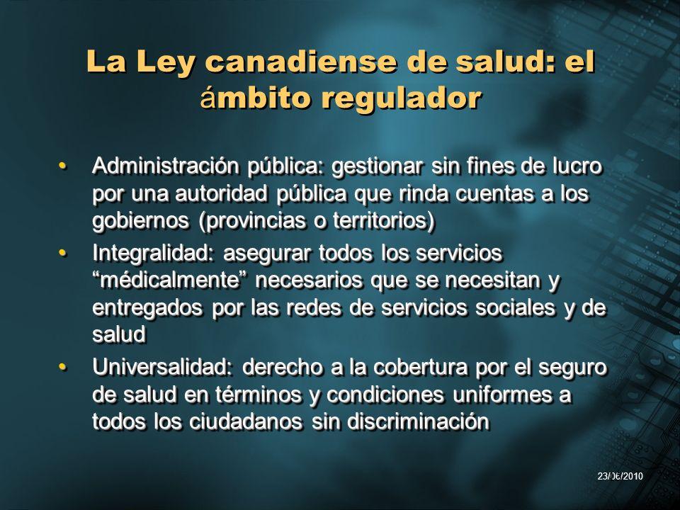 23/06/2010 13 La Ley canadiense de salud: el á mbito regulador Administración pública: gestionar sin fines de lucro por una autoridad pública que rind