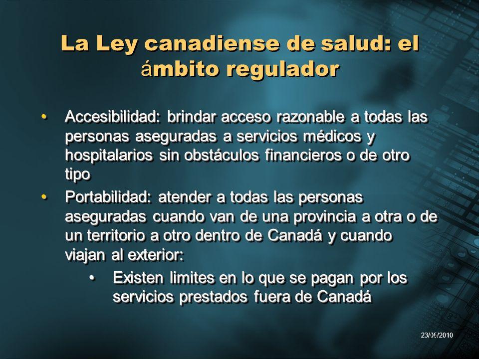 23/06/2010 14 La Ley canadiense de salud: el á mbito regulador Accesibilidad: brindar acceso razonable a todas las personas aseguradas a servicios méd