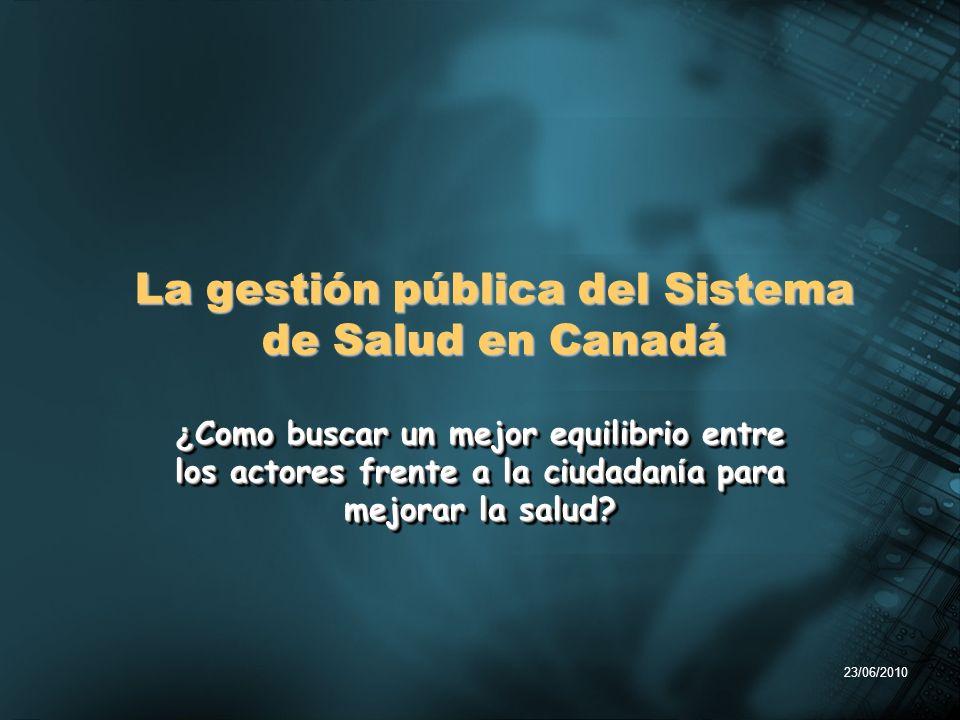 23/06/2010 ¿ Como buscar un mejor equilibrio entre los actores frente a la ciudadan í a para mejorar la salud? La gestión pública del Sistema de Salud